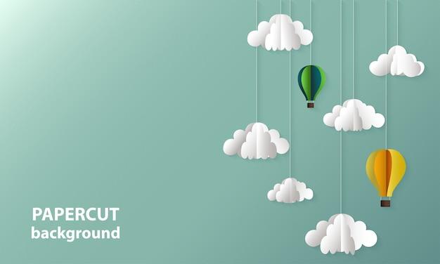 Tło papieru wyciąć kształty chmur i balonów. Premium Wektorów