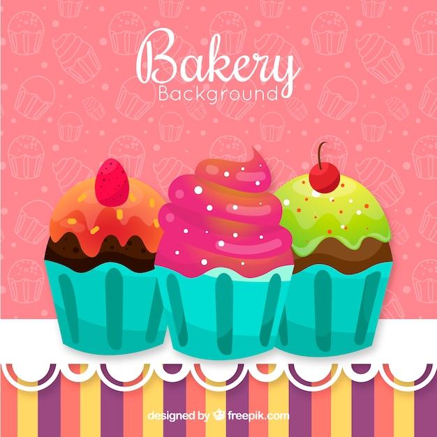 Tło Piekarnia Z Słodycze W Stylu Płaski Darmowych Wektorów