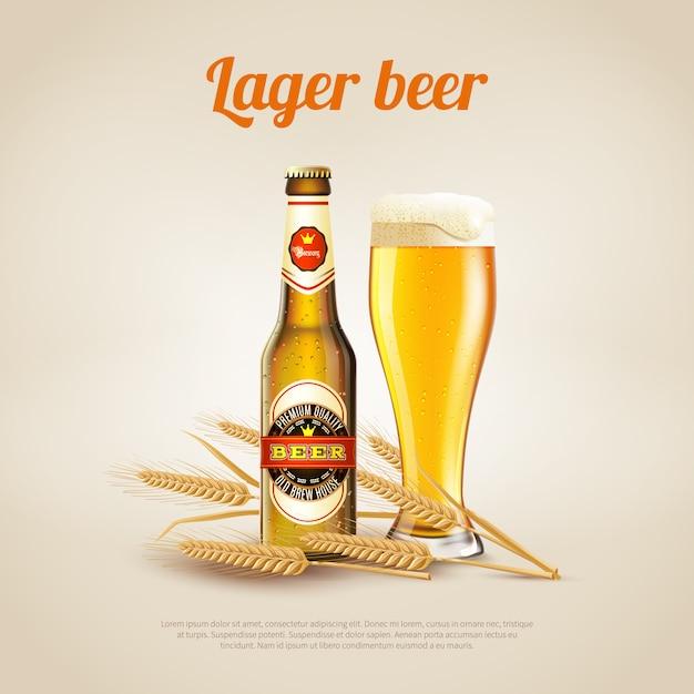 Tło piwa lager Premium Wektorów