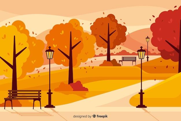 Tło Płaski Jesień Krajobraz Darmowych Wektorów