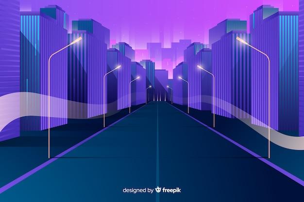 Tło płaskie futurystyczne miasto Darmowych Wektorów