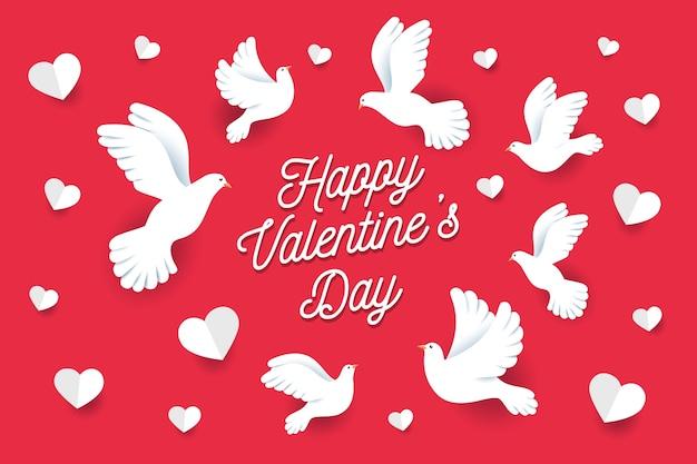 Tło Płaskie Walentynki Z Gołębie Darmowych Wektorów