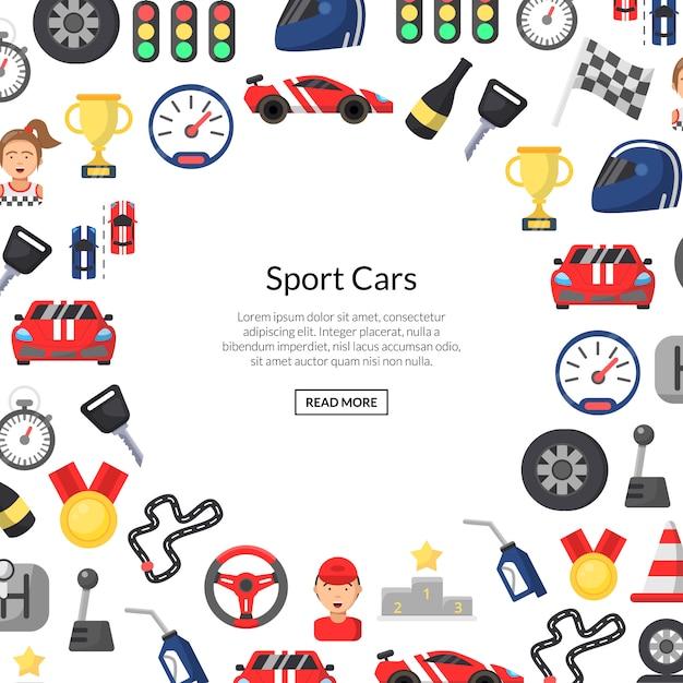 Tło płaskie wyścigi samochodowe ikony z miejscem na tekst Premium Wektorów