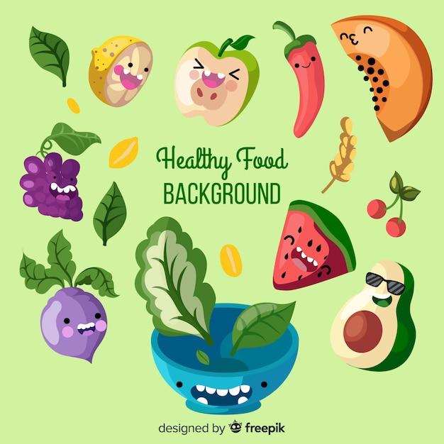 Tło płaskie zdrowej żywności Darmowych Wektorów
