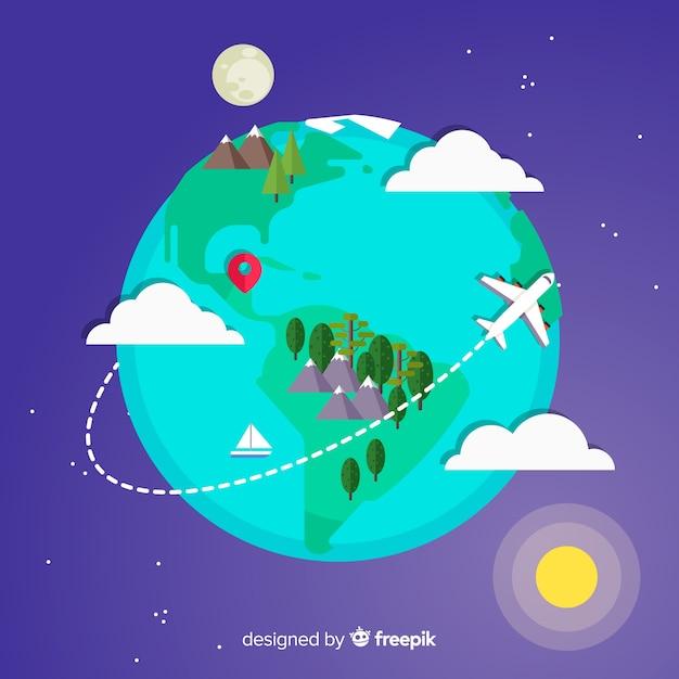 Tło Podróży Ziemi W Płaskiej Konstrukcji Darmowych Wektorów