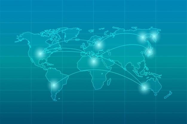 Tło połączenia z internetem świata Premium Wektorów