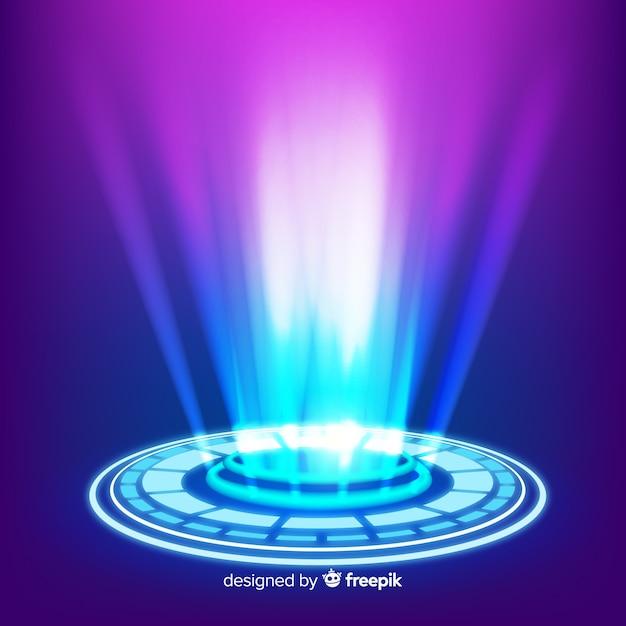 Tło Portalu Realistyczne Niebieski Hologram Darmowych Wektorów
