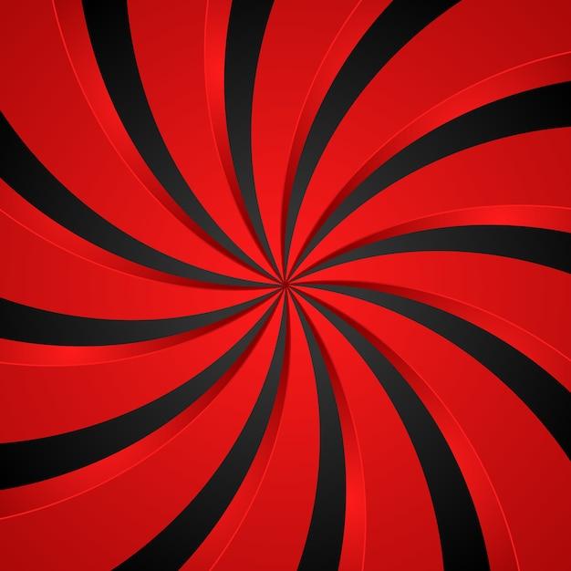 Tło Promieniowe Wirowa Czarny I Czerwony Spirala Premium Wektorów
