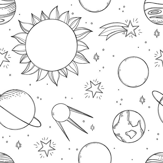 Tło Przestrzeni. Kosmiczny Wzór Z Planet, Gwiazd. Układ Słoneczny I Wszechświat Premium Wektorów