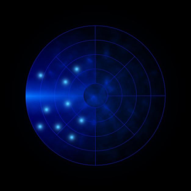 Tło Radaru. Wojskowy System Wyszukiwania. Wyświetlacz Radaru Hud. Ilustracji Wektorowych. Premium Wektorów