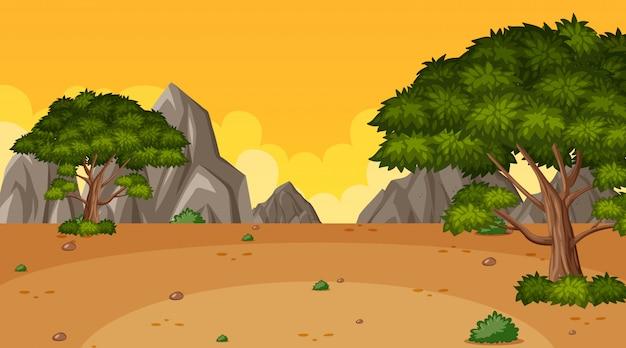 Tło Scena Z Wiele Drzewami W Parku Premium Wektorów