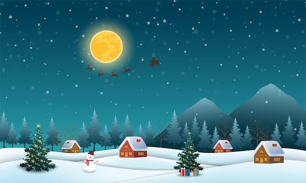 Tło Sceny Nocy Z Mikołajem Latającym Na Saniach Ciągniętych Przez Renifery Nad Wioską Premium Wektorów
