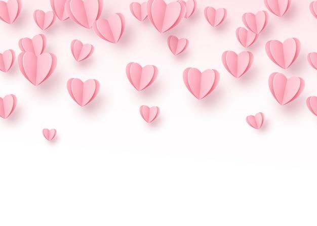 Tło Serca Z Jasnoróżowym Wycięciem Papieru Serca. Darmowych Wektorów