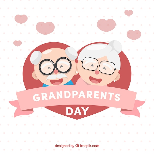 Tło Serca Z Szczęśliwych Dziadków Darmowych Wektorów