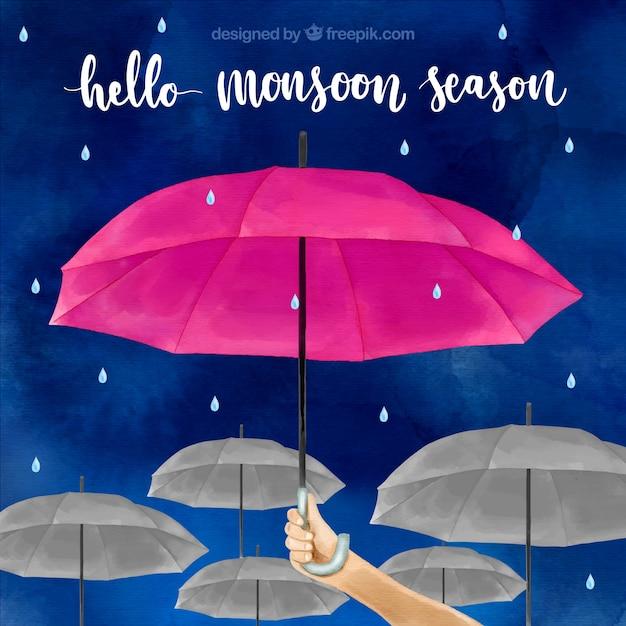Tło sezon monsunowy w stylu przypominającym akwarele Darmowych Wektorów