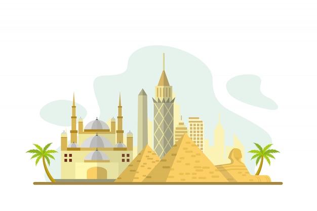 Tło słynnych zabytków egiptu Premium Wektorów