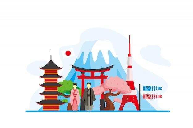 Tło słynnych zabytków japonii Premium Wektorów