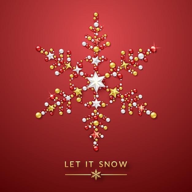 Tło śnieżynka z błyszczącymi gwiazdami, łuk i kolorowe kulki Premium Wektorów