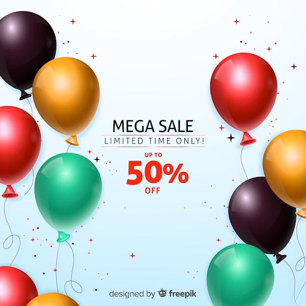 Tło sprzedaży z realistycznymi balonami Darmowych Wektorów