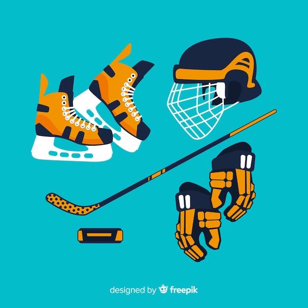 Tło Sprzęt Do Hokeja Premium Wektorów