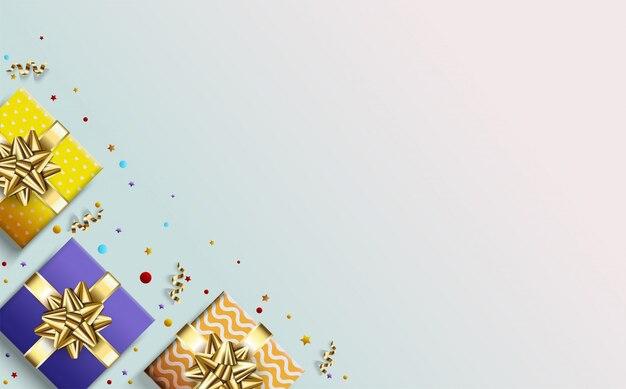 Tło strony z trzema kolorowymi ilustracjami pudełko. Premium Wektorów