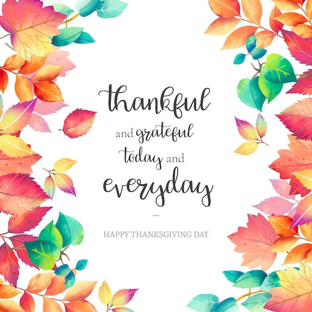 Tło święto dziękczynienia z pięknym cytatem Darmowych Wektorów