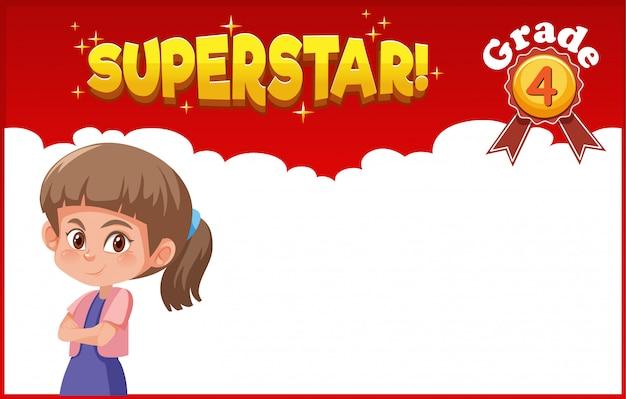 Tło Szablonu Projekt Z Szczęśliwą Dziewczyną I Słowo Supergwiazdą Premium Wektorów
