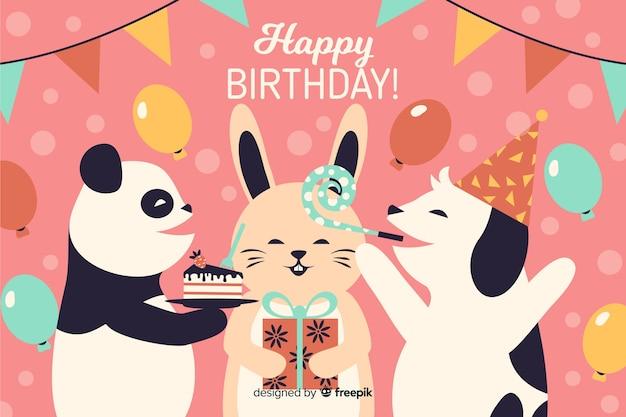 Tło Szczęśliwy Urodziny Party Darmowych Wektorów