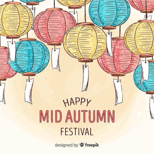 Tło Szczęśliwy W Połowie Jesień Festiwal Darmowych Wektorów