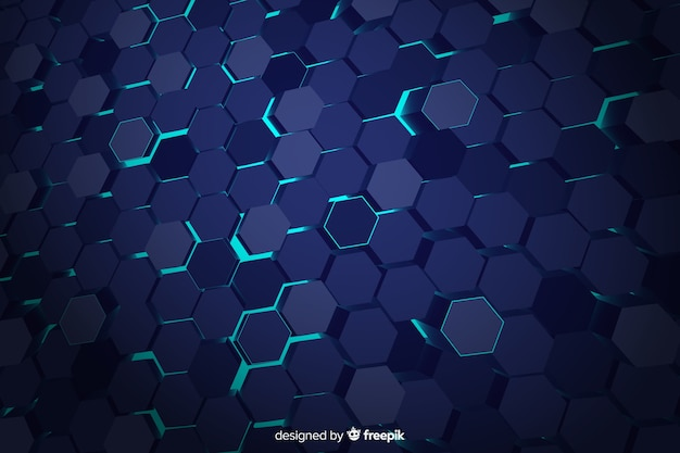 Tło technologiczne niebieski plaster miodu Darmowych Wektorów