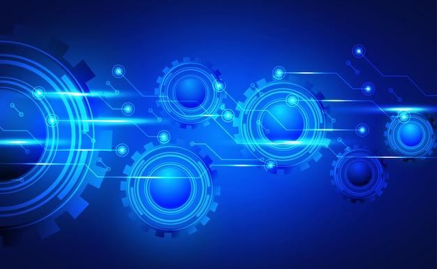 Tło Technologii, Płytki Drukowanej I Koncepcji Mechanizmu Koła Zębatego. Z Efektem Neonowym. Premium Wektorów