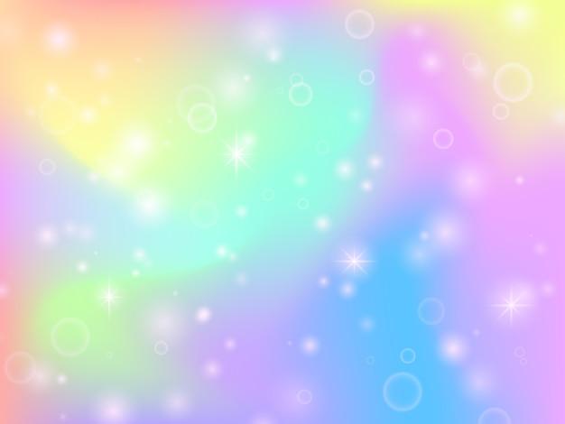 Tło tęczy bajki jednorożca z magią błyszczy i gwiazd. multicolor fantasy streszczenie tło wektor Premium Wektorów