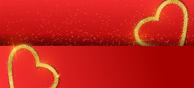 Tło Transparent Walentynki Z Brokatem Złote Serce. Premium Wektorów