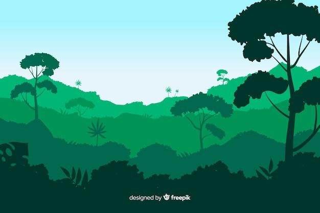 Tło Tropikalny Las Krajobraz Darmowych Wektorów