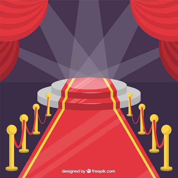 Tło uroczystości czerwony dywan w stylu płaski Darmowych Wektorów