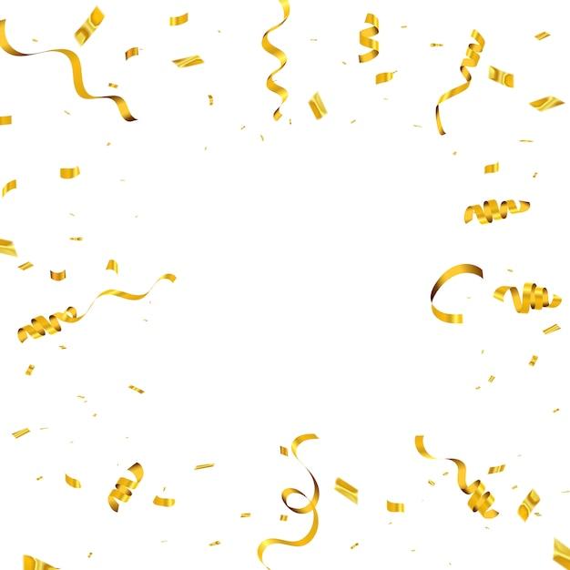 Tło uroczystości z konfetti i złote wstążki. luksusowe bogate karty okolicznościowe. Premium Wektorów
