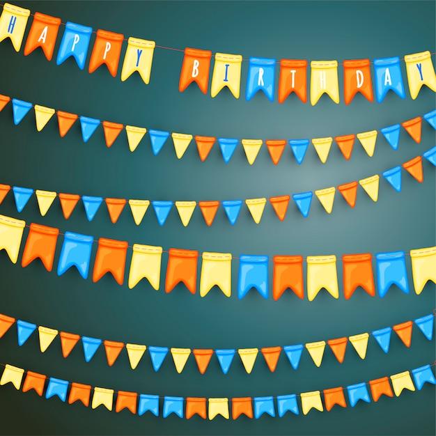 Tło Uroczysty Z Girlandami Flag Premium Wektorów