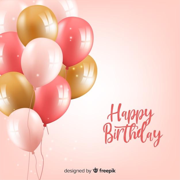 Tło Urodziny Balony Premium Wektorów