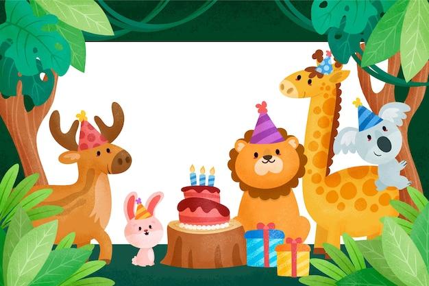 Tło Urodziny Dla Dzieci Ze Zwierzętami Premium Wektorów