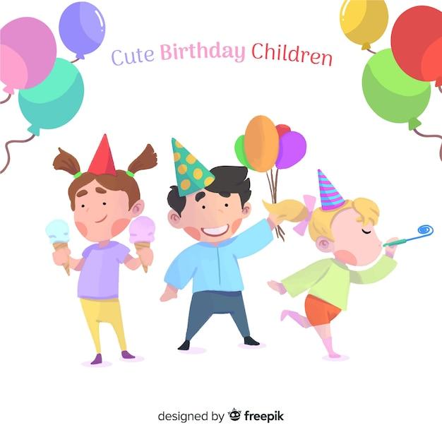 Tło urodziny słodkie dzieci Darmowych Wektorów