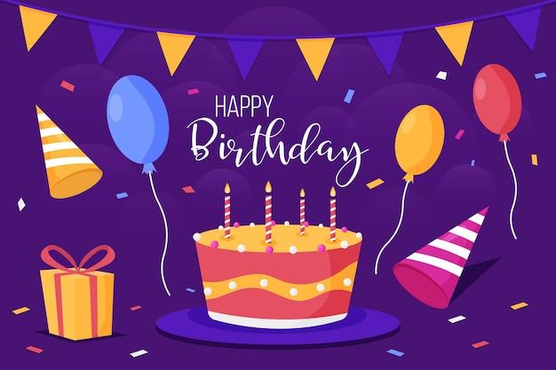 Tło Urodziny Z Ciasta I świece Darmowych Wektorów