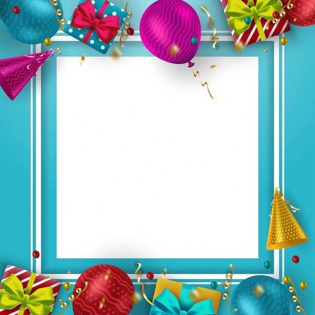 Tło Urodziny Z Kolorowych Balonów I Miejsce Na Tekst Premium Wektorów