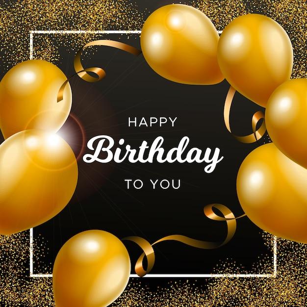 Tło Urodziny Z Złote Balony Darmowych Wektorów