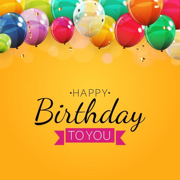 Tło Urodziny Zaproszenie Z Balonów. Ilustracja Premium Wektorów