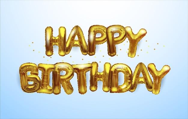 Tło Urodziny Złote Balony. Premium Wektorów