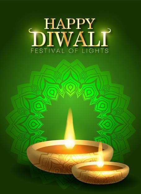 Tło Wakacje Diwali Na Lekki Festiwal Indii Premium Wektorów