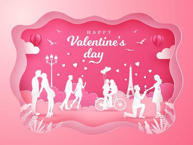 Tło Walentynki Z Zakochanych Romantyczne Pary Na Różowo Premium Wektorów