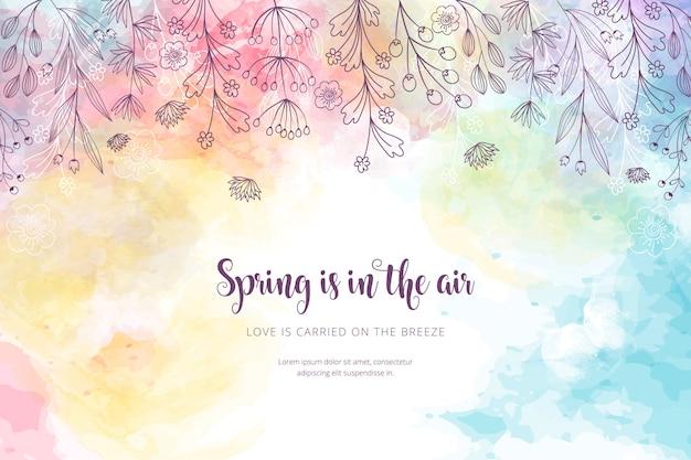Tło Wiosna Akwarela Darmowych Wektorów