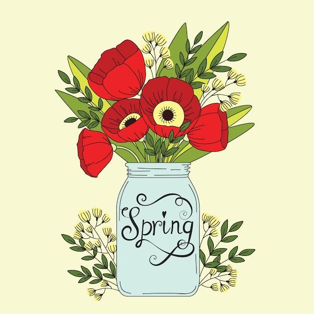 Tło Wiosna Kwiatów Premium Wektorów