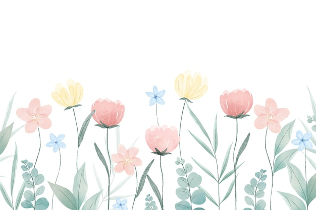 Tło Wiosna Malowane Akwarelą Darmowych Wektorów